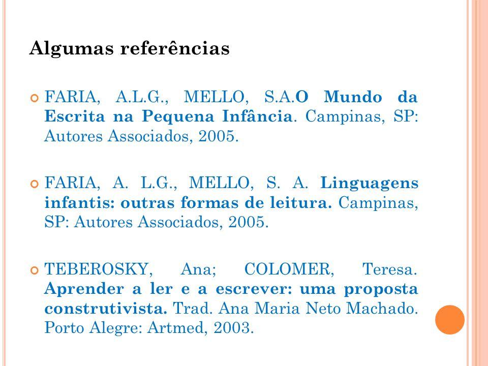 Algumas referências FARIA, A.L.G., MELLO, S.A.O Mundo da Escrita na Pequena Infância. Campinas, SP: Autores Associados, 2005.
