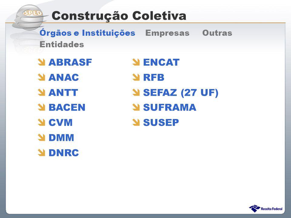 Construção Coletiva ABRASF ANAC ANTT BACEN CVM DMM DNRC ENCAT RFB