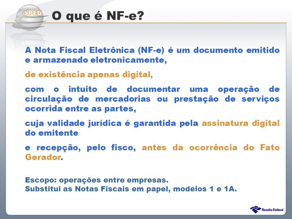 O que é NF-e A Nota Fiscal Eletrônica (NF-e) é um documento emitido e armazenado eletronicamente, de existência apenas digital,