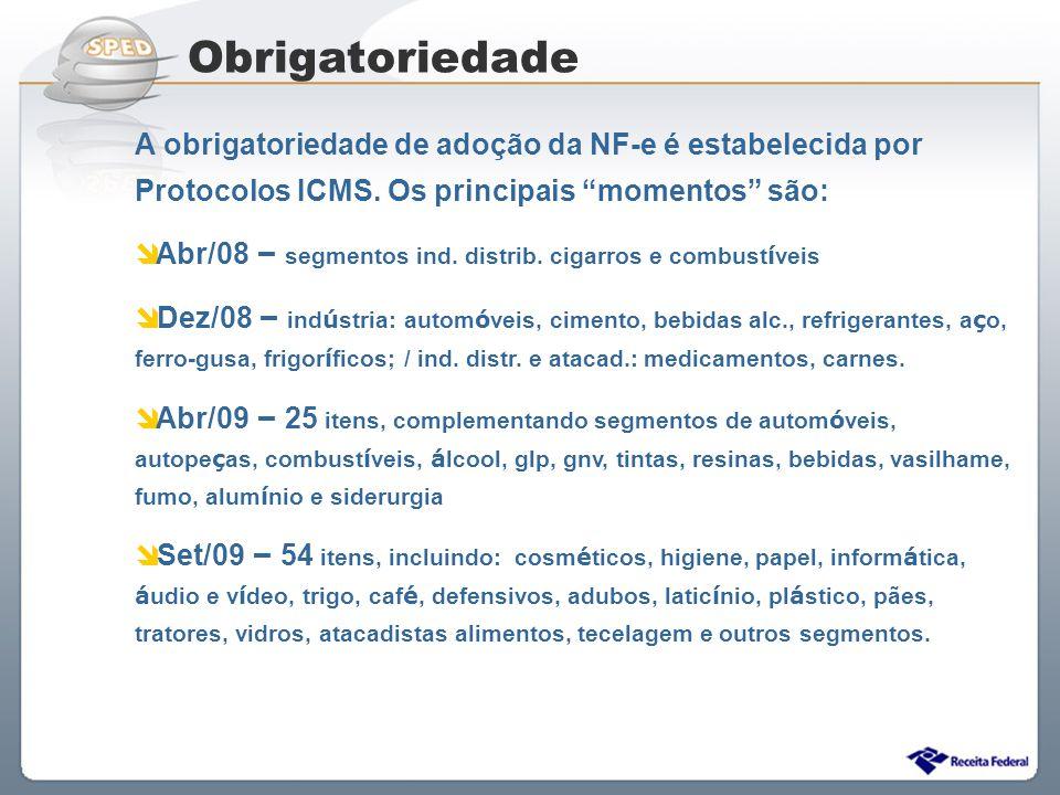 Obrigatoriedade A obrigatoriedade de adoção da NF-e é estabelecida por Protocolos ICMS. Os principais momentos são: