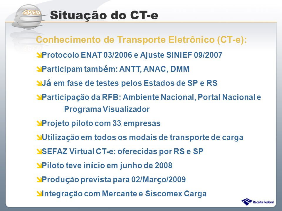 Situação do CT-e Conhecimento de Transporte Eletrônico (CT-e):