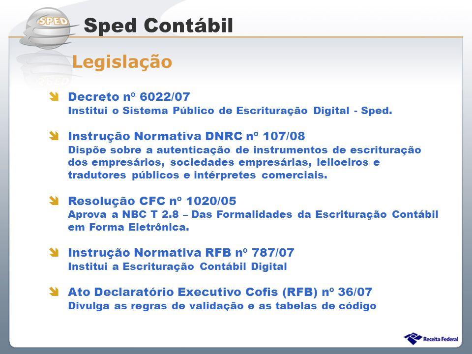 Sped Contábil Legislação Decreto nº 6022/07