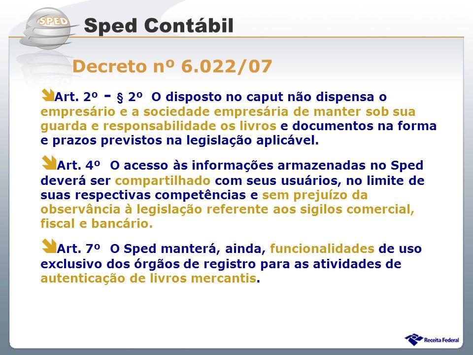 Sped Contábil Decreto nº 6.022/07.