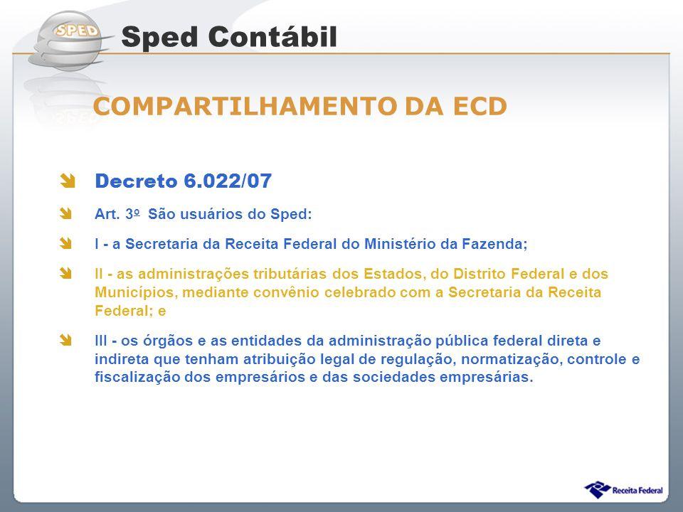 Sped Contábil COMPARTILHAMENTO DA ECD Decreto 6.022/07