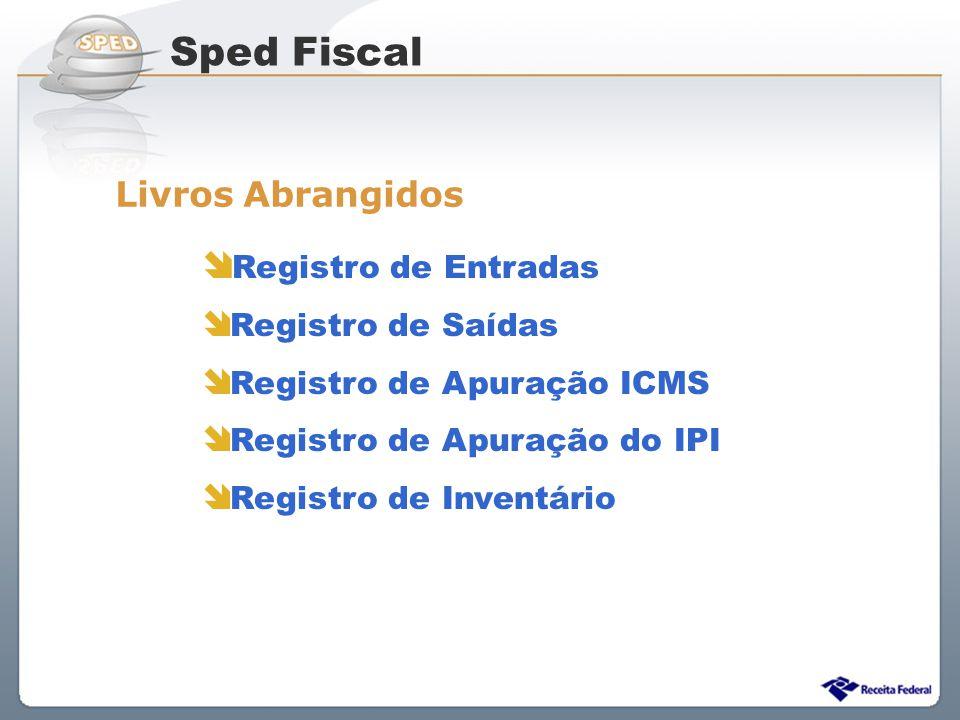 Sped Fiscal Livros Abrangidos Registro de Entradas Registro de Saídas