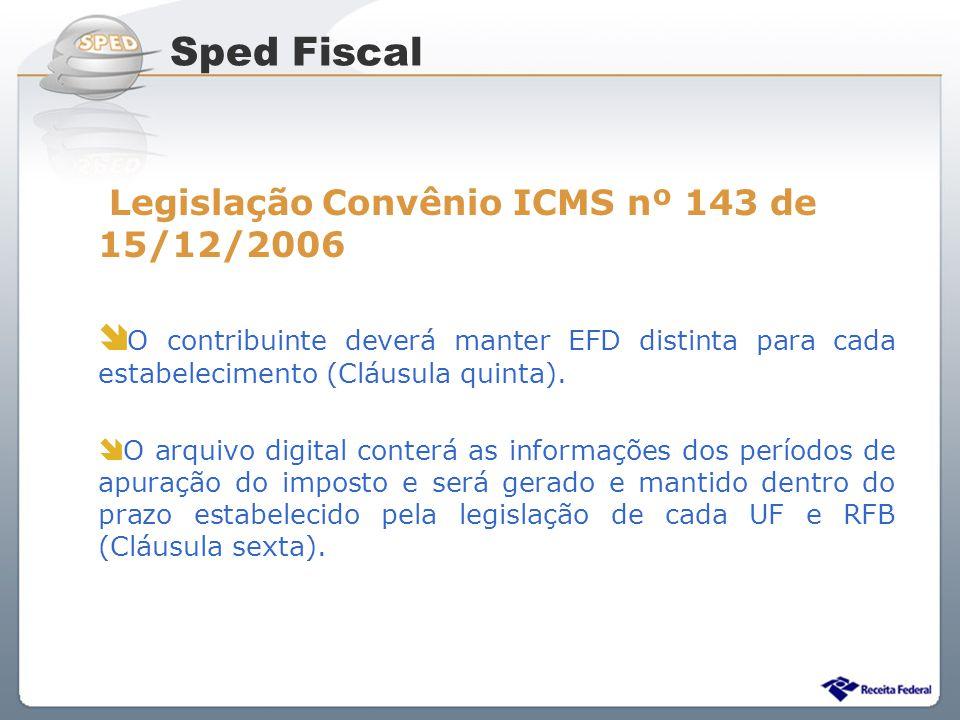 Sped Fiscal Legislação Convênio ICMS nº 143 de 15/12/2006