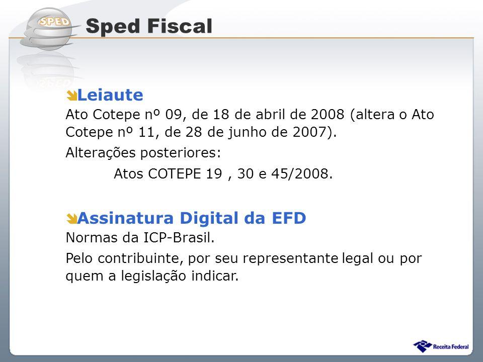Sped Fiscal Leiaute Ato Cotepe nº 09, de 18 de abril de 2008 (altera o Ato Cotepe nº 11, de 28 de junho de 2007).