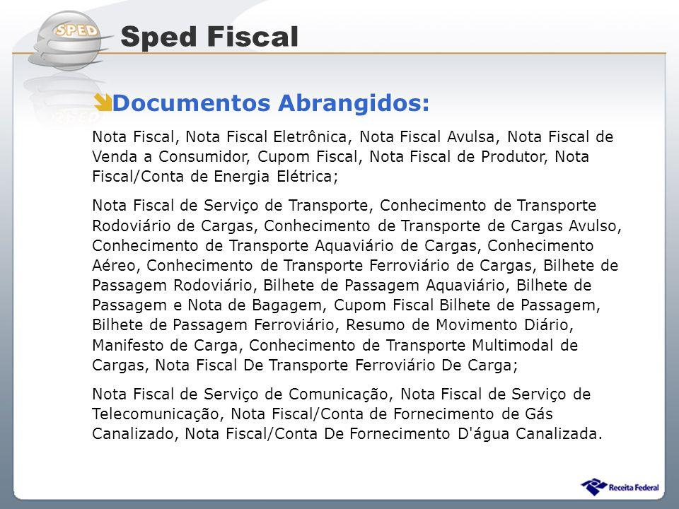 Sped Fiscal Documentos Abrangidos: