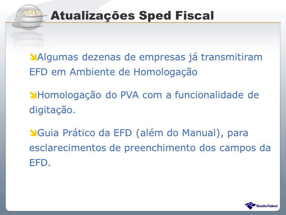 Atualizações Sped Fiscal