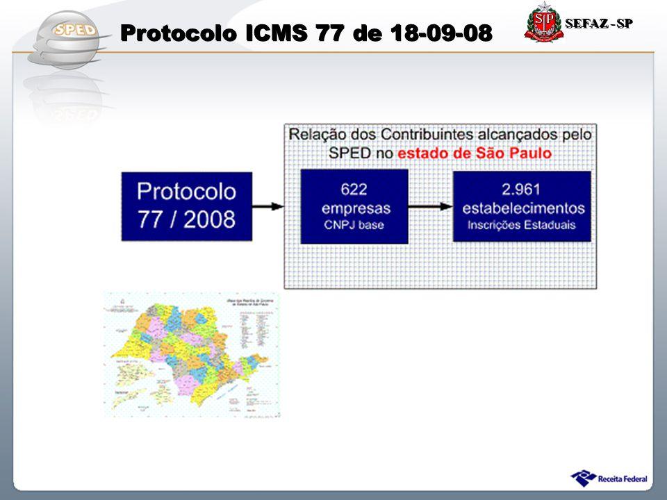 SEFAZ - SP Protocolo ICMS 77 de 18-09-08