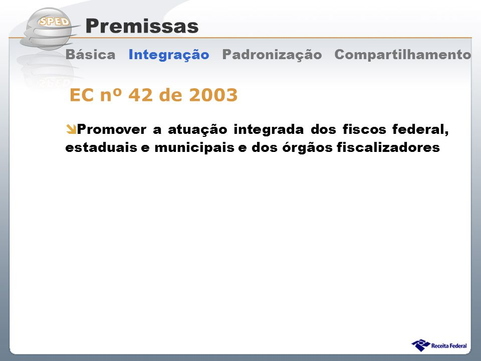 Premissas Básica Integração Padronização Compartilhamento. EC nº 42 de 2003.