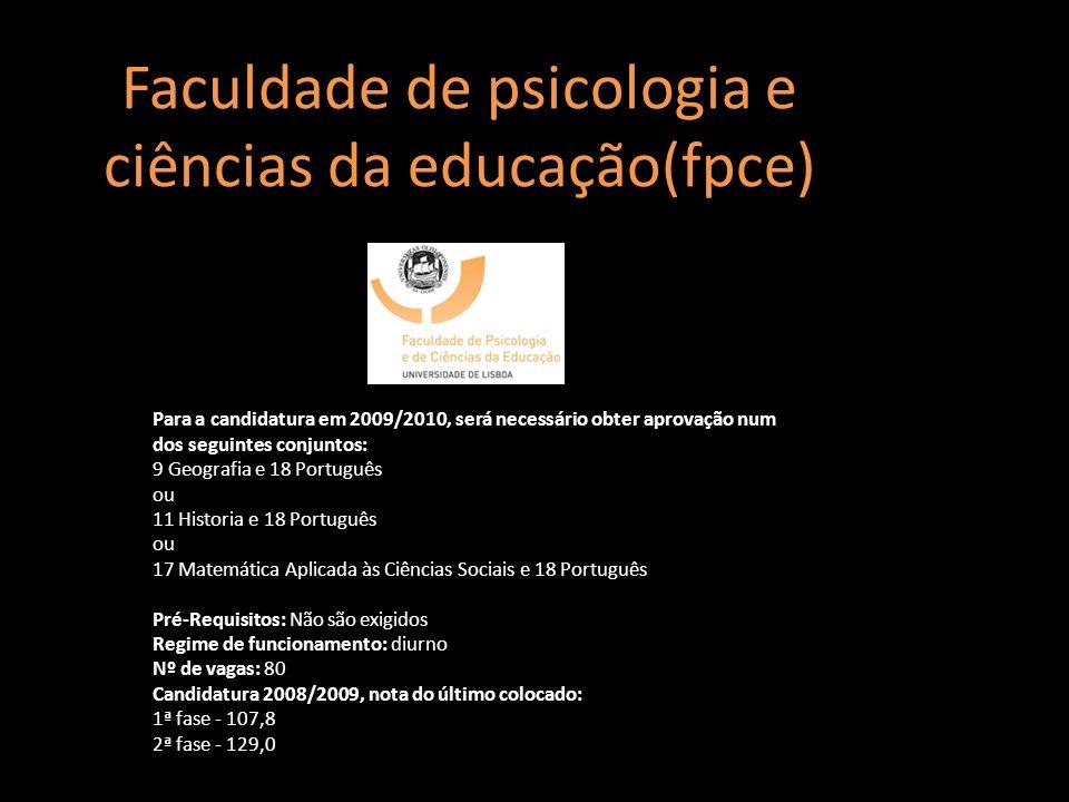 Faculdade de psicologia e ciências da educação(fpce)