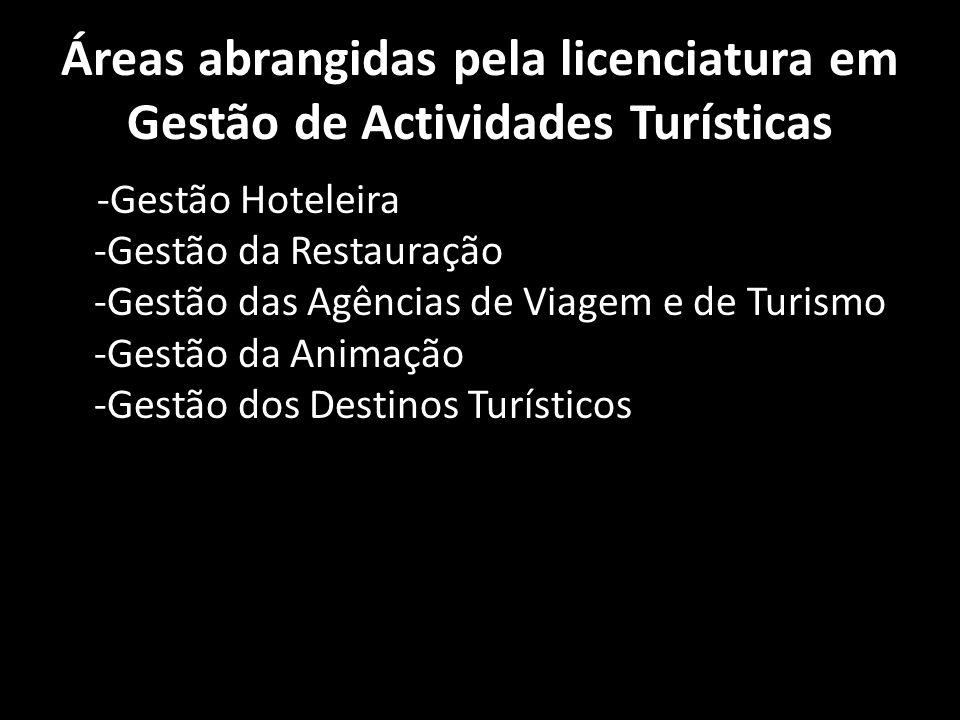 Áreas abrangidas pela licenciatura em Gestão de Actividades Turísticas