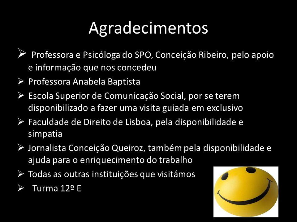 Agradecimentos Professora e Psicóloga do SPO, Conceição Ribeiro, pelo apoio e informação que nos concedeu.