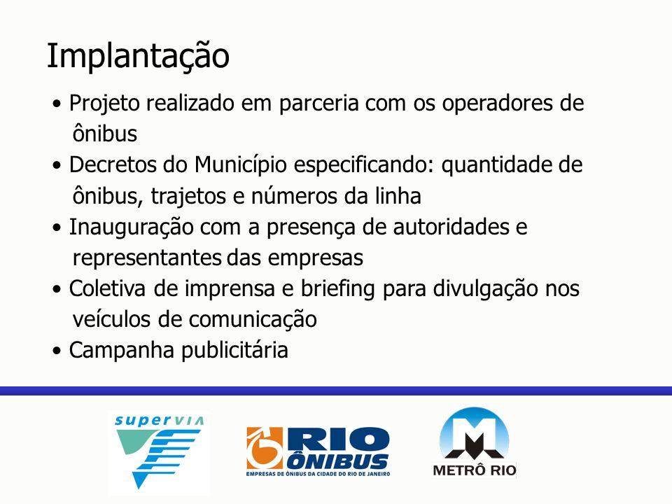 Implantação Projeto realizado em parceria com os operadores de ônibus