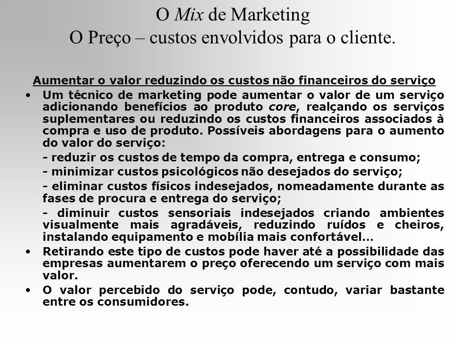 O Mix de Marketing O Preço – custos envolvidos para o cliente.