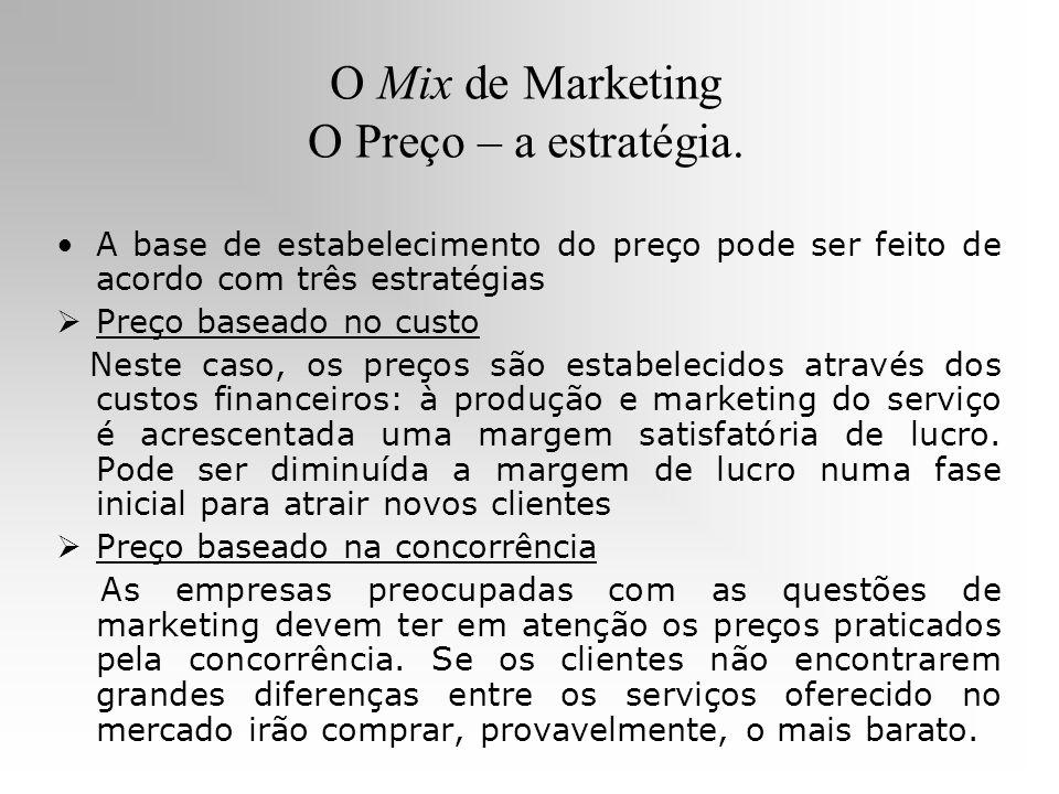 O Mix de Marketing O Preço – a estratégia.