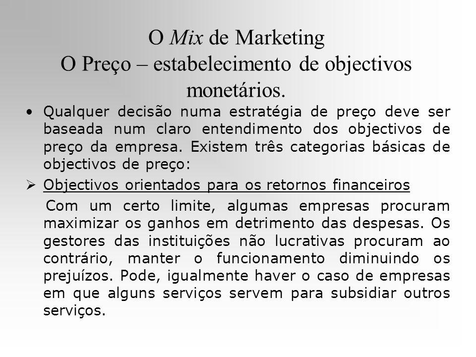 O Mix de Marketing O Preço – estabelecimento de objectivos monetários.