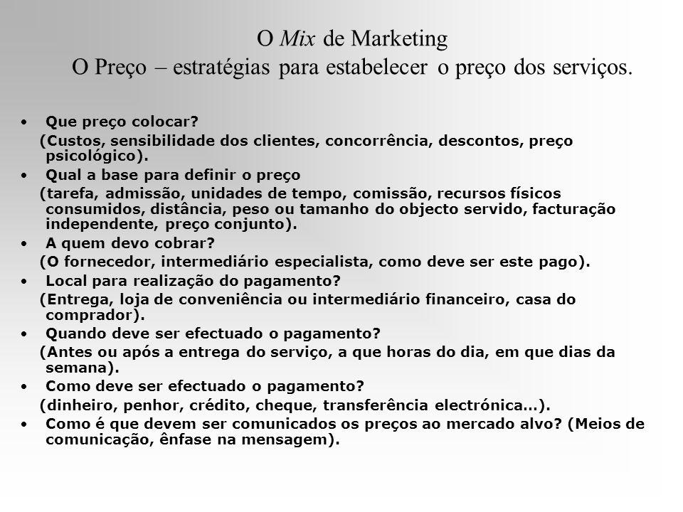 O Mix de Marketing O Preço – estratégias para estabelecer o preço dos serviços.