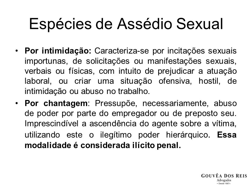 Espécies de Assédio Sexual