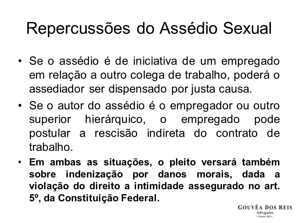 Repercussões do Assédio Sexual