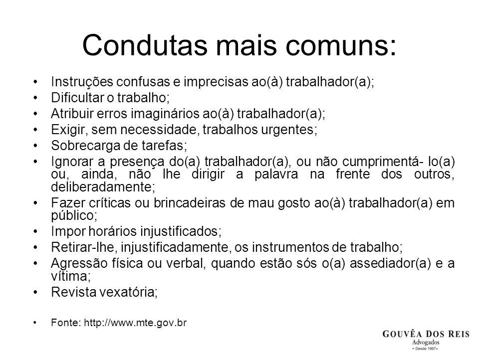 Condutas mais comuns: Instruções confusas e imprecisas ao(à) trabalhador(a); Dificultar o trabalho;