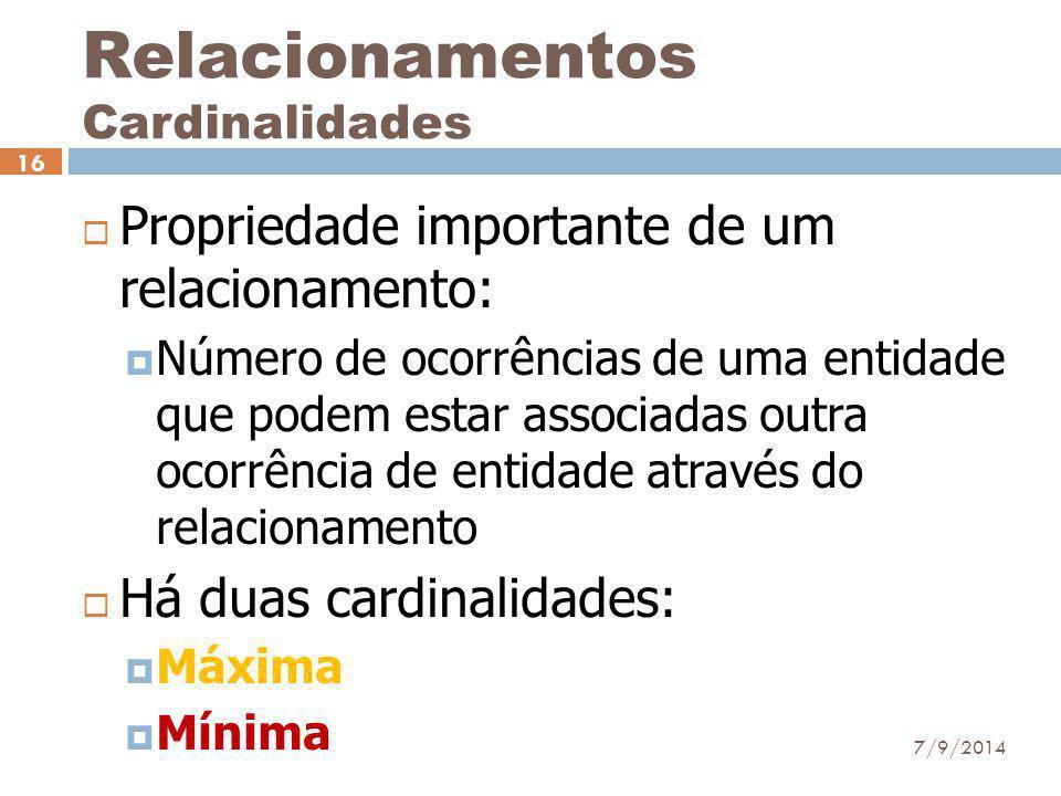 Relacionamentos Cardinalidades