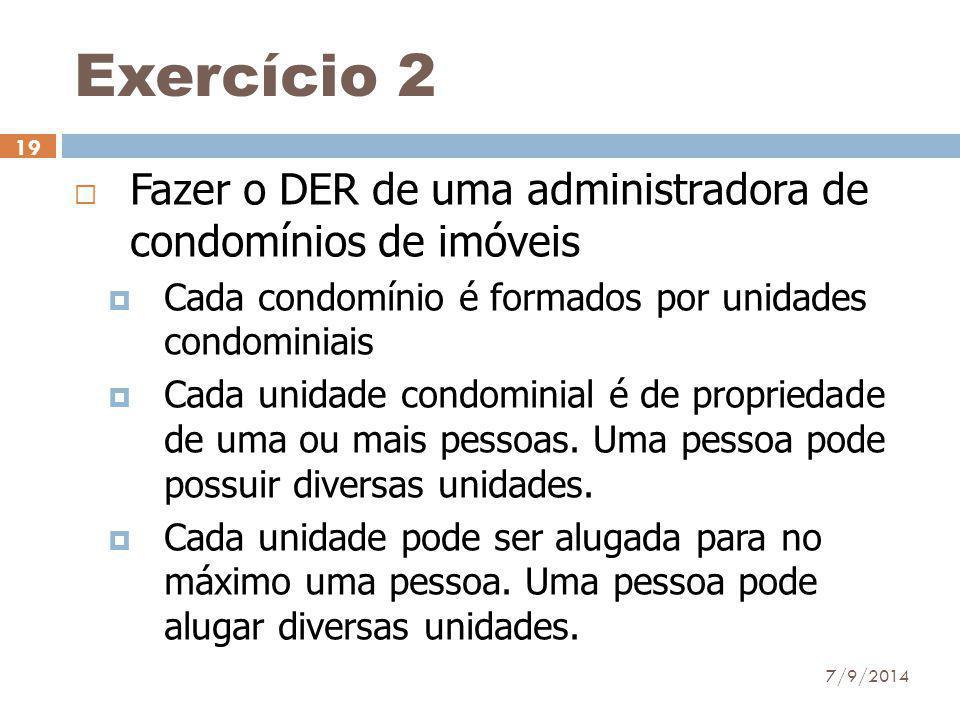 Exercício 2 Fazer o DER de uma administradora de condomínios de imóveis. Cada condomínio é formados por unidades condominiais.