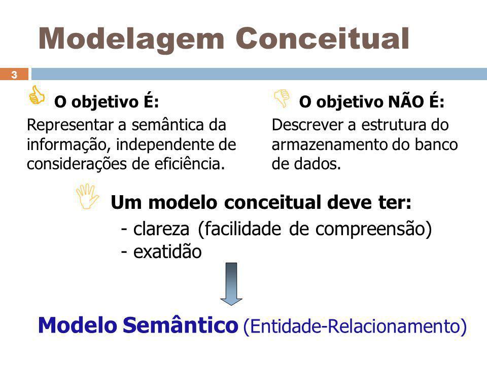 I Um modelo conceitual deve ter: