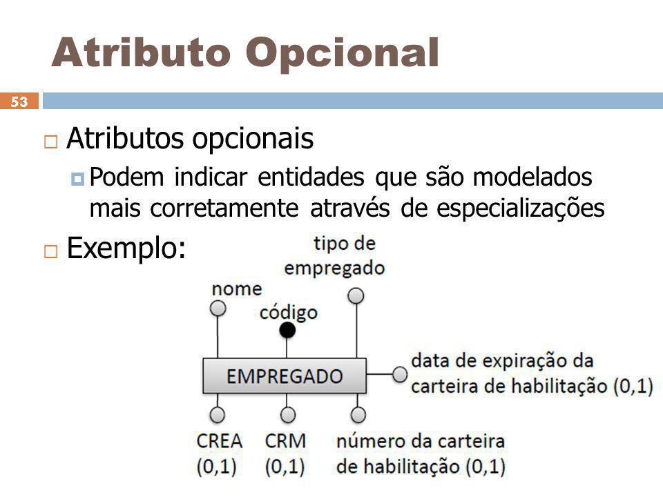 Atributo Opcional Atributos opcionais Exemplo: