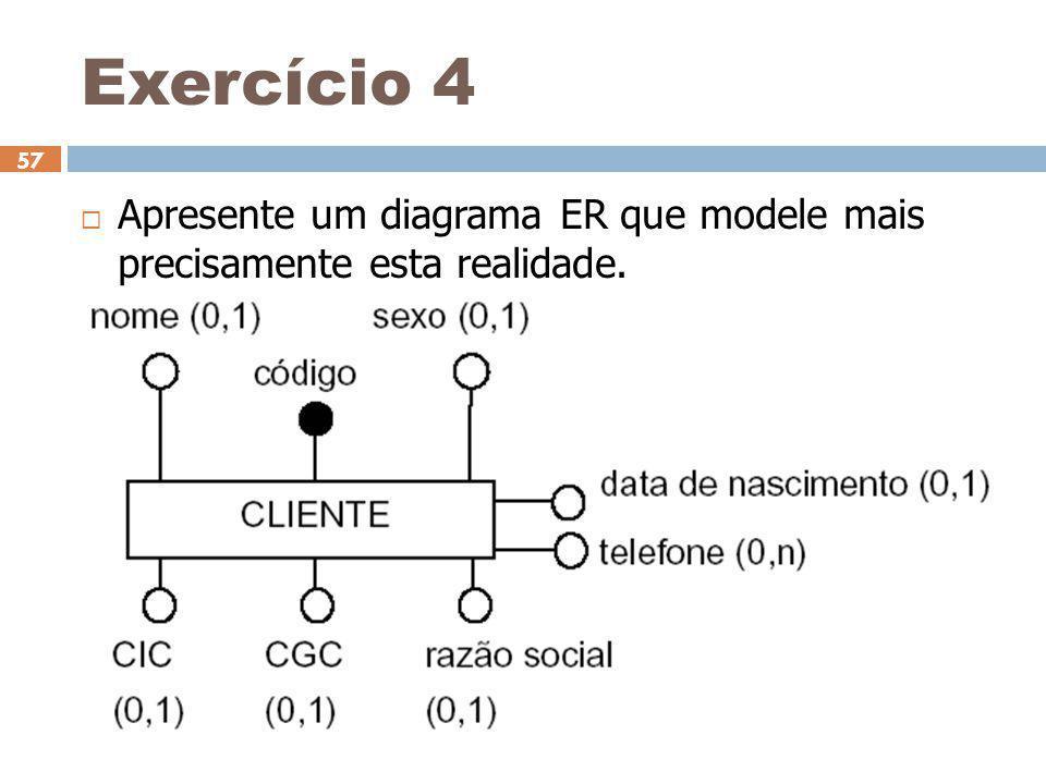 Exercício 4 Apresente um diagrama ER que modele mais precisamente esta realidade. 31/03/2017