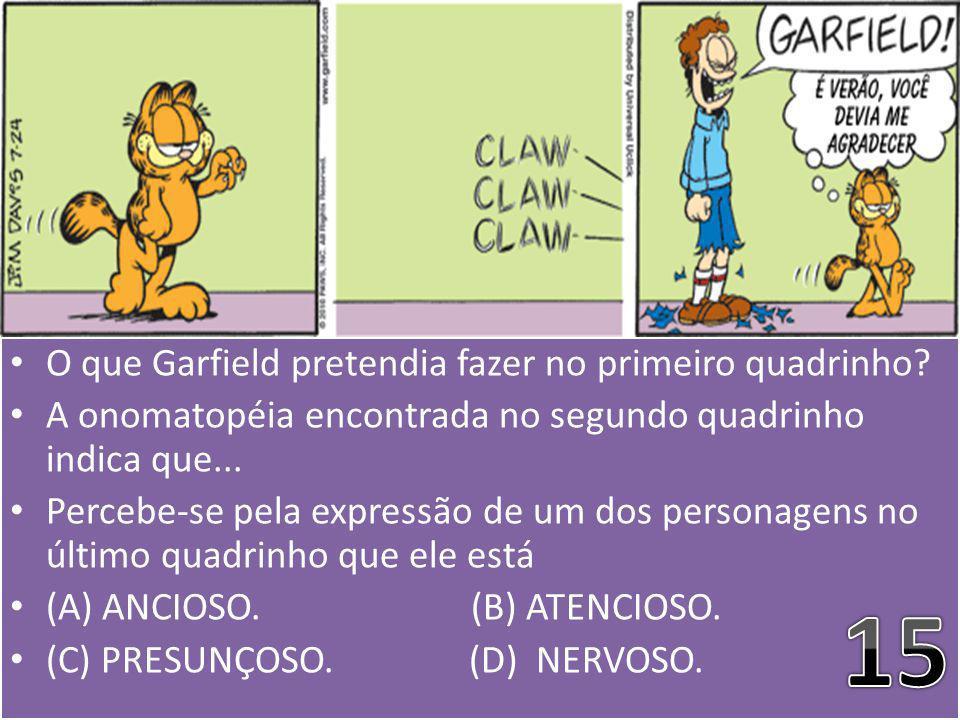 15 O que Garfield pretendia fazer no primeiro quadrinho