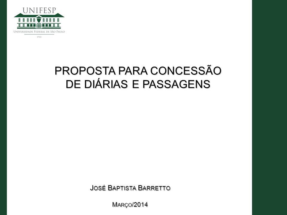 PROPOSTA PARA CONCESSÃO DE DIÁRIAS E PASSAGENS