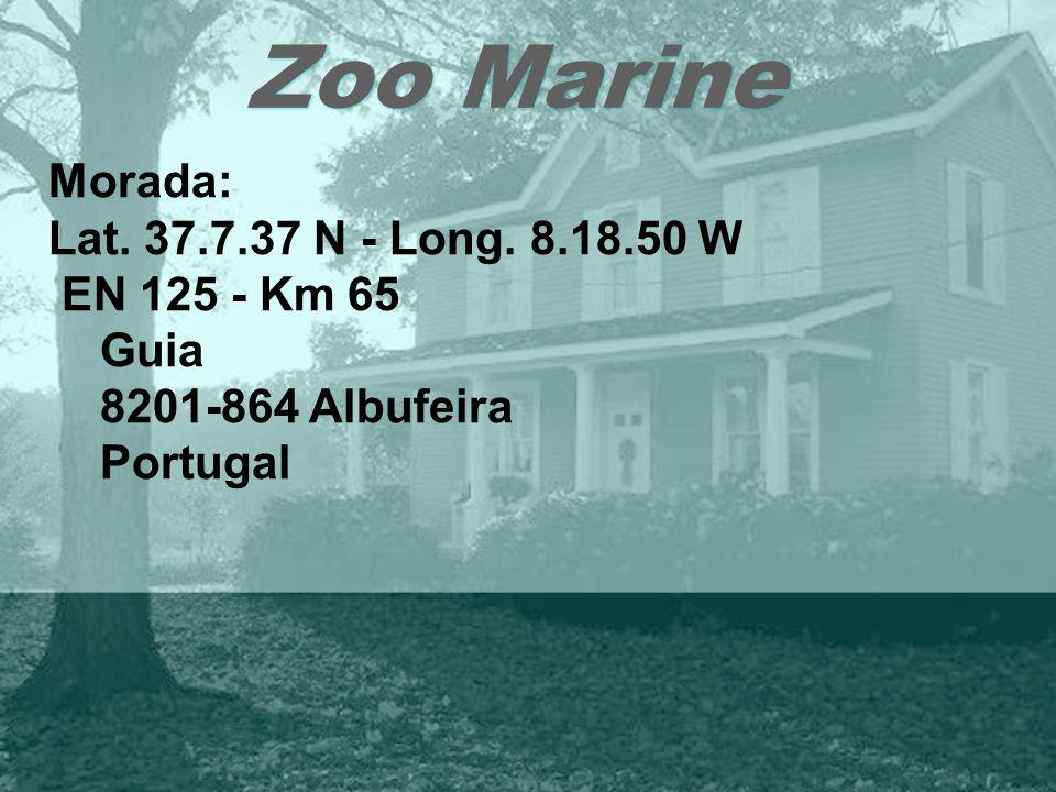 Zoo Marine Morada: Lat. 37.7.37 N - Long. 8.18.50 W