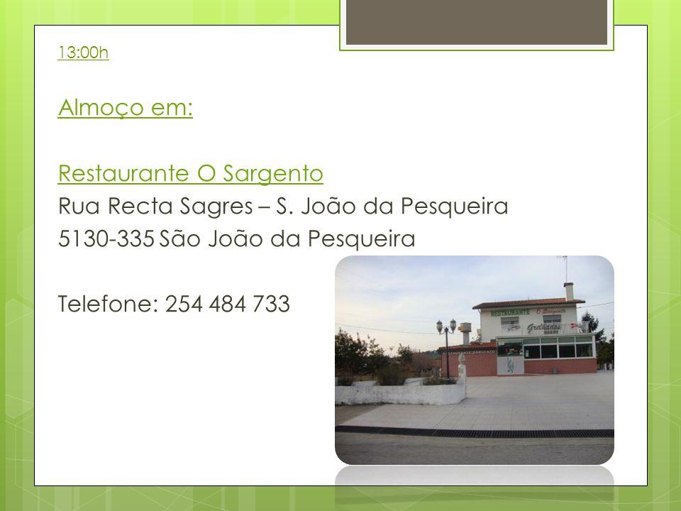 13:00h Almoço em: Restaurante O Sargento Rua Recta Sagres – S. João da Pesqueira 5130-335 São João da Pesqueira Telefone: 254 484 733