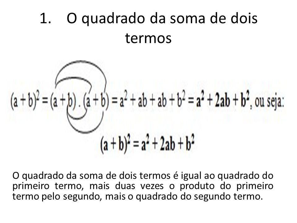 1. O quadrado da soma de dois termos