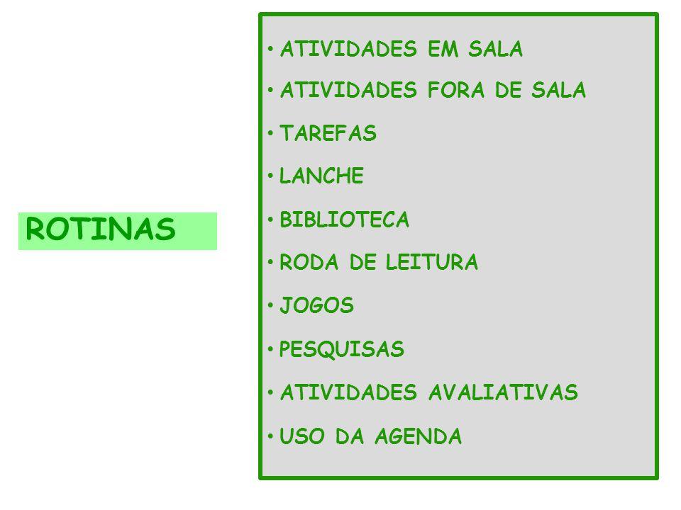 ROTINAS ATIVIDADES EM SALA ATIVIDADES FORA DE SALA TAREFAS LANCHE