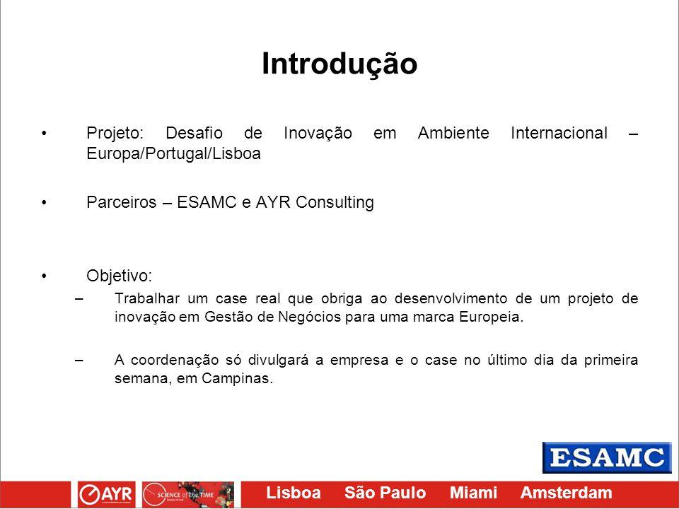 Introdução Projeto: Desafio de Inovação em Ambiente Internacional – Europa/Portugal/Lisboa. Parceiros – ESAMC e AYR Consulting.