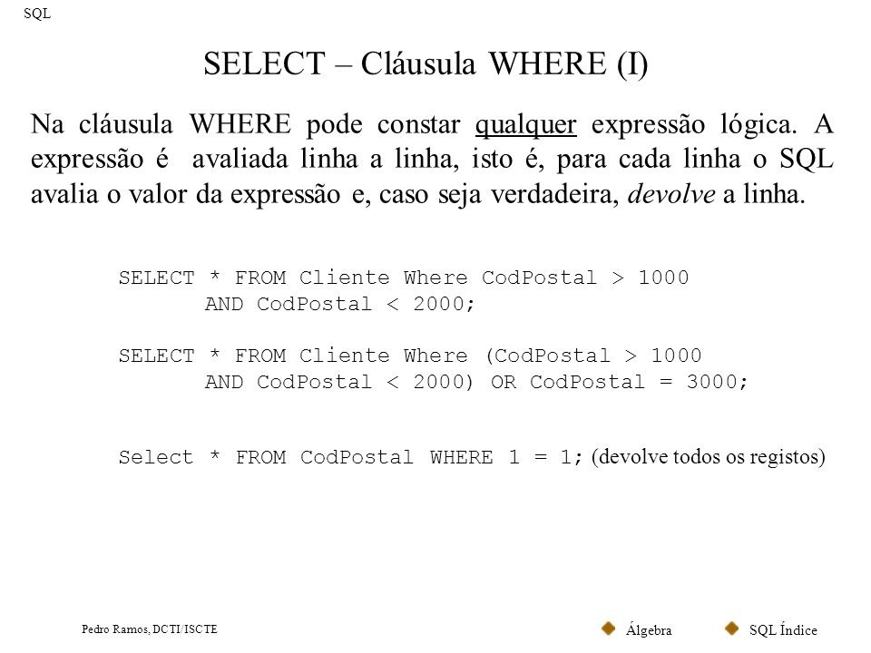 SELECT – Cláusula WHERE (I)