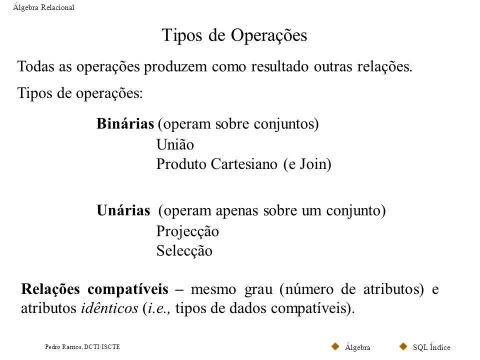 Álgebra Relacional Tipos de Operações. Todas as operações produzem como resultado outras relações.