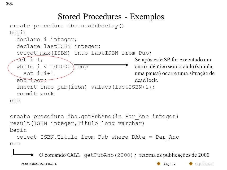 Stored Procedures - Exemplos