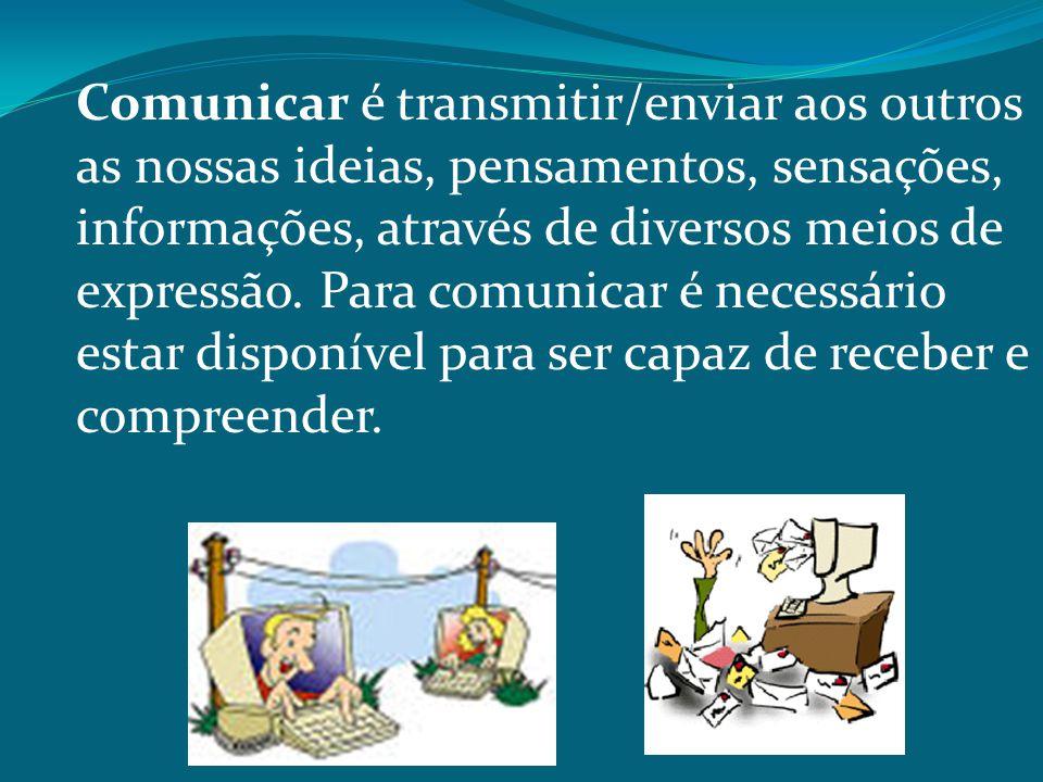 Comunicar é transmitir/enviar aos outros as nossas ideias, pensamentos, sensações, informações, através de diversos meios de expressão.