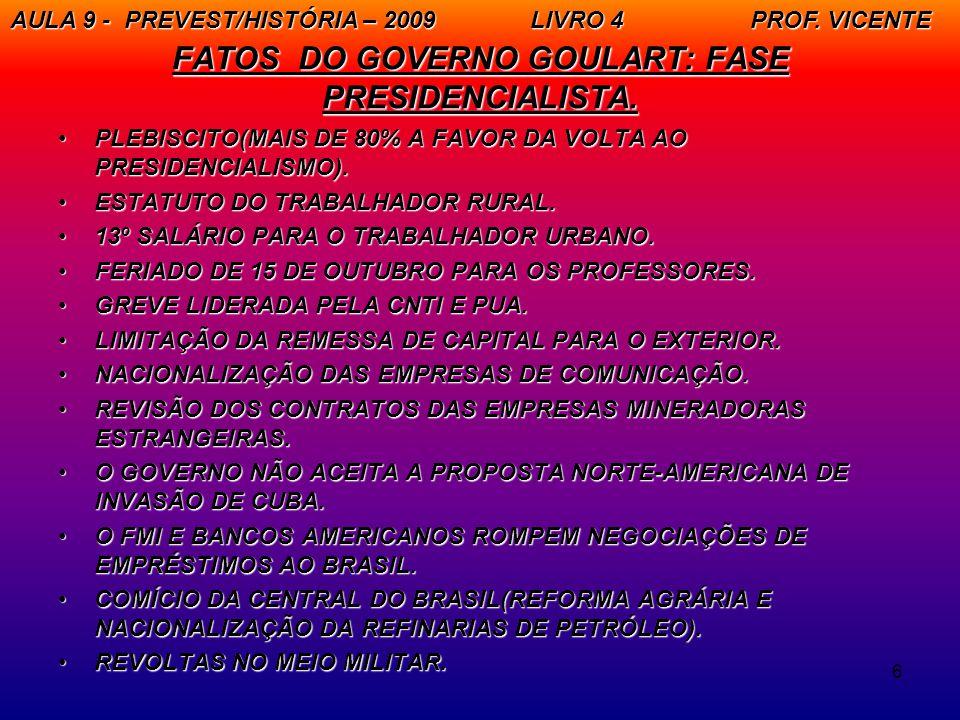 FATOS DO GOVERNO GOULART: FASE PRESIDENCIALISTA.