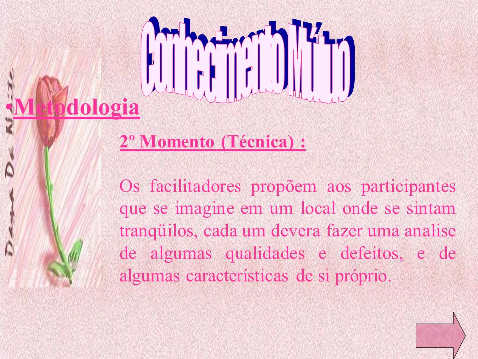 Conhecimento Mútuo Metodologia 2º Momento (Técnica) :