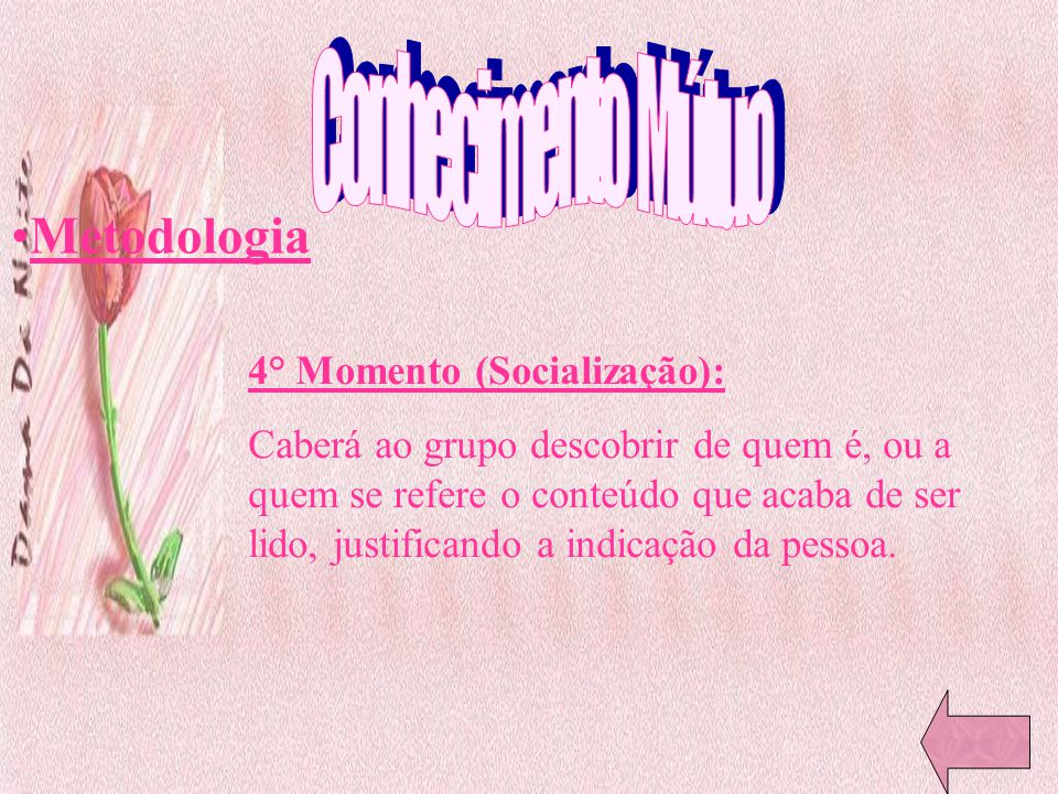 Conhecimento Mútuo Metodologia 4° Momento (Socialização):