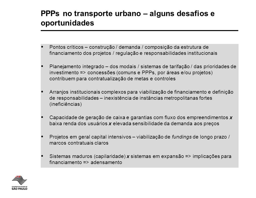 PPPs no transporte urbano – alguns desafios e oportunidades