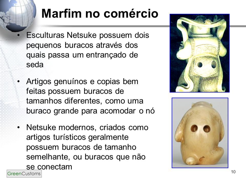 Marfim no comércio Esculturas Netsuke possuem dois pequenos buracos através dos quais passa um entrançado de seda.