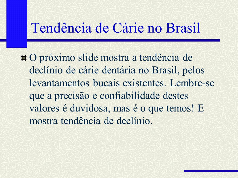 Tendência de Cárie no Brasil