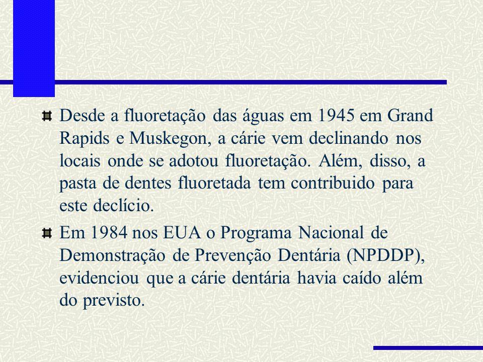 Desde a fluoretação das águas em 1945 em Grand Rapids e Muskegon, a cárie vem declinando nos locais onde se adotou fluoretação. Além, disso, a pasta de dentes fluoretada tem contribuido para este declício.