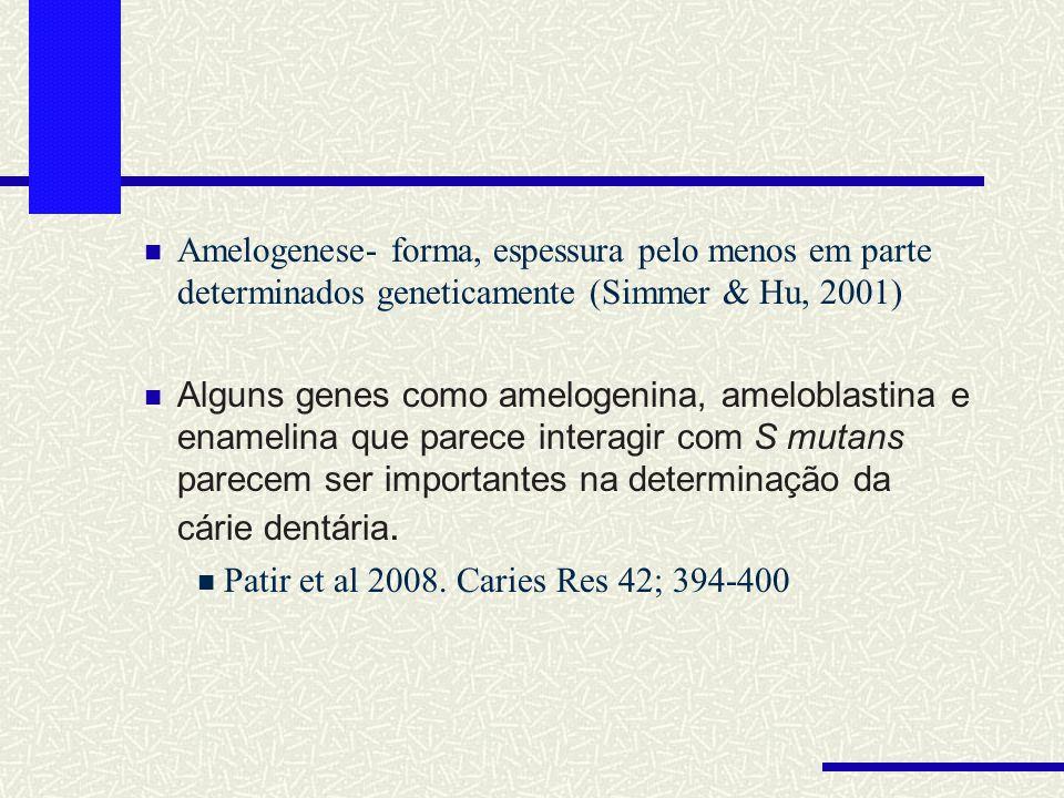 Amelogenese- forma, espessura pelo menos em parte determinados geneticamente (Simmer & Hu, 2001)